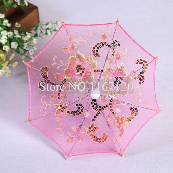 Free Shipping,4pcs/lot 2014 Cute Pink Mini Lace Umbrella Flower Silk Lace Cloth Toy Parasol Umbrella for Children 30cm Diam(UM19(China (Mainland))