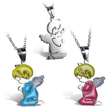 Women hot sale necklaces Angel Wing Pendant Necklaces for Ladies Girls Birthday Gift 3 colors selection collane e ciondoli(China (Mainland))