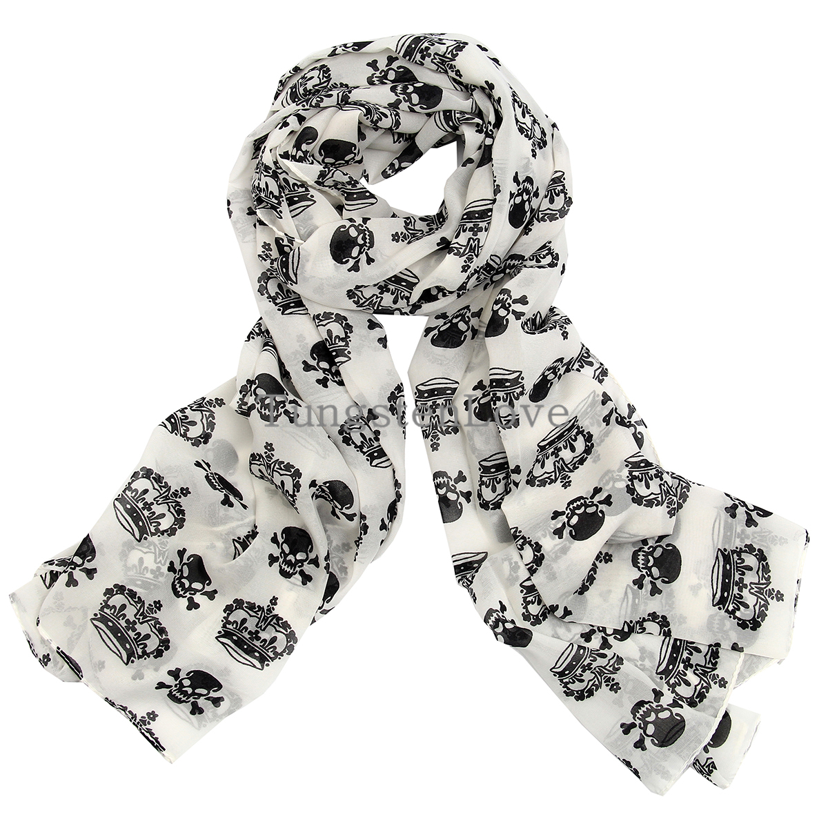 2015 Ladies Scarves Chiffon Skull Print Scarf Wrap Shawl Halloween Party Christmas Gifts Black / White Color Selectable(China (Mainland))