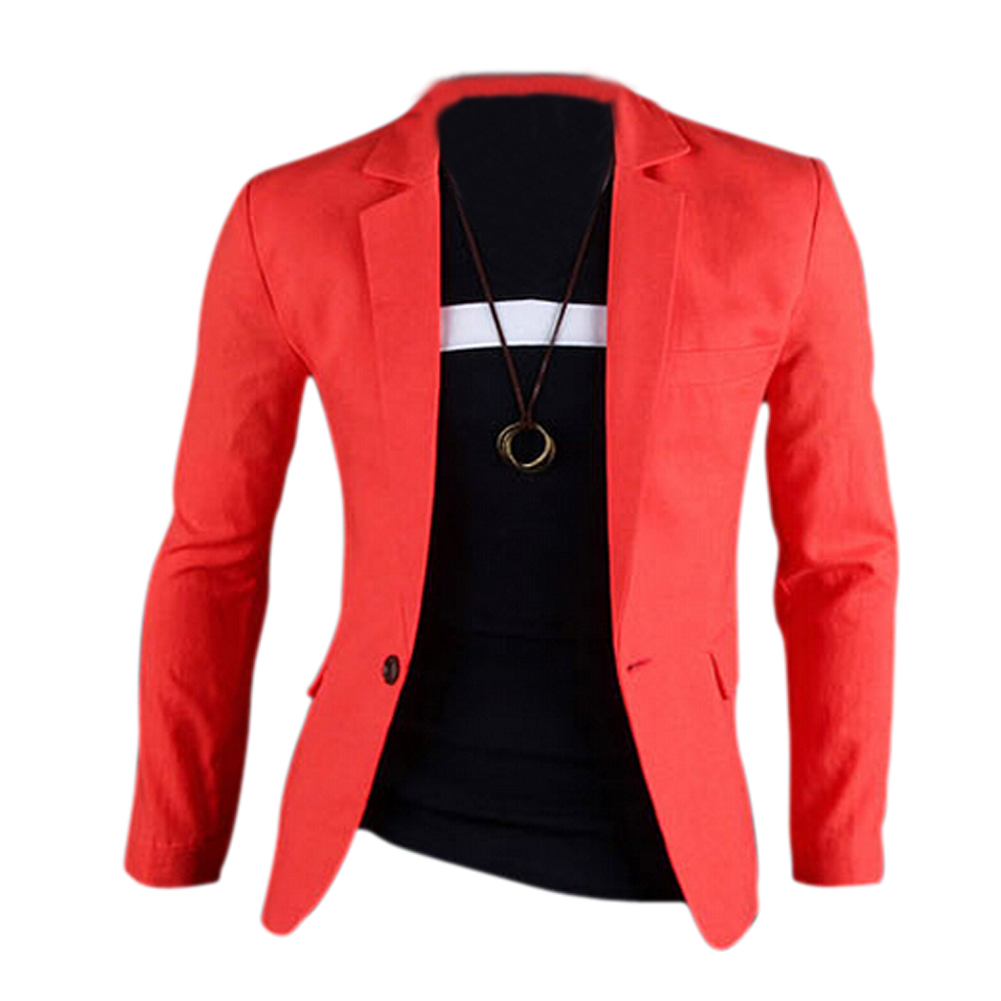 Mens One Button Blazers Orange Red Size CN XL(US UK EU M)(China (Mainland))