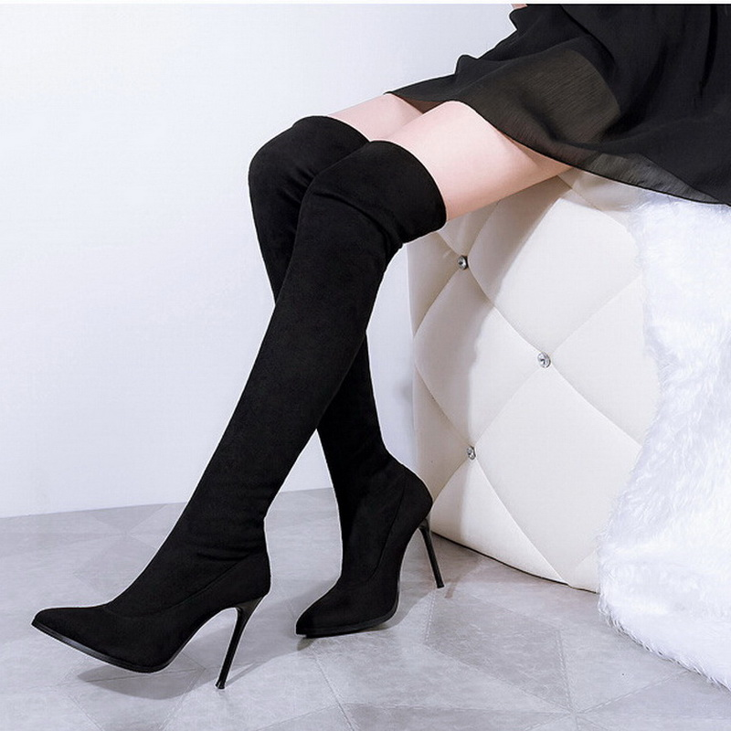 Women boots elastic knee high boots frosted waterproof high-heeled boots<br><br>Aliexpress