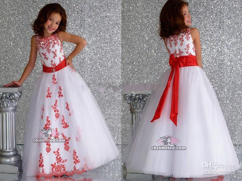 2015 blanc organza rouge applique princesse flower girl robes robe de mari e robe de mari e. Black Bedroom Furniture Sets. Home Design Ideas