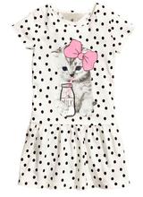 Nuovo arrivo di estate della ragazza stampa del vestito del gatto grigio neonata del vestito dei bambini abbigliamento per bambini del vestito 2-10years(China (Mainland))