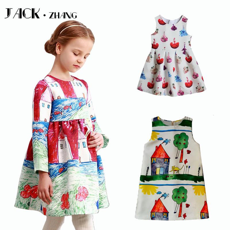 Name brand girl dress long sleeve kids clothes graffiti
