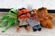 Free shipping 4pcs/lot 30cm The Muppet Show plush hand puppets,Kermit the Frog,Fozzie Bear,drummer,The Swedish Chef (China (Mainland))
