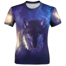 WAIBO BEAR New 2016 T shirt Men Animal print Fierce wolves Short Sleeve Costume Under Outdoor Gym Sport Fitness tshirt homme