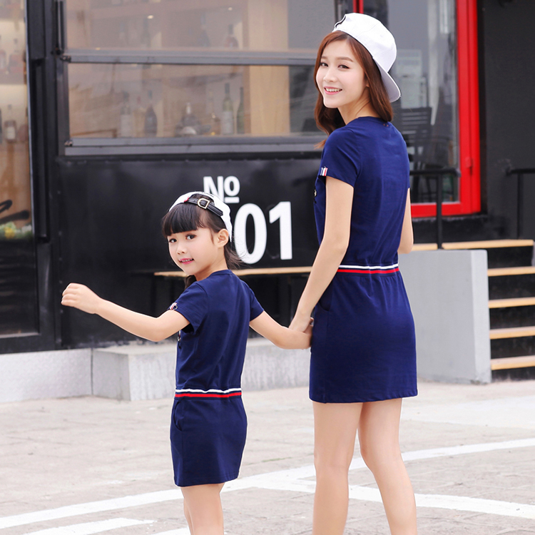 Summer Style Mother Daughter Dresses 2016 Cotton Dress Fashion Casual Vestidos Family Matching Clothes Family Clothing Look A703