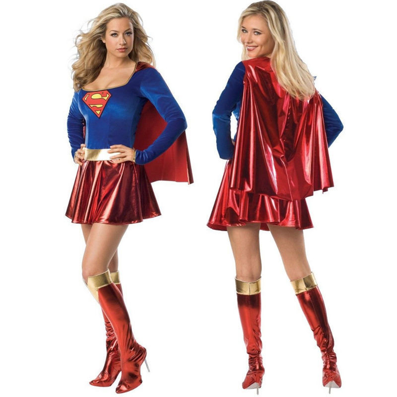 NEW ADULTS SUPERGIRL SUPERMAN SUPERHERO COSTUME FANCY DRESS LADIES SIZE SM-MED