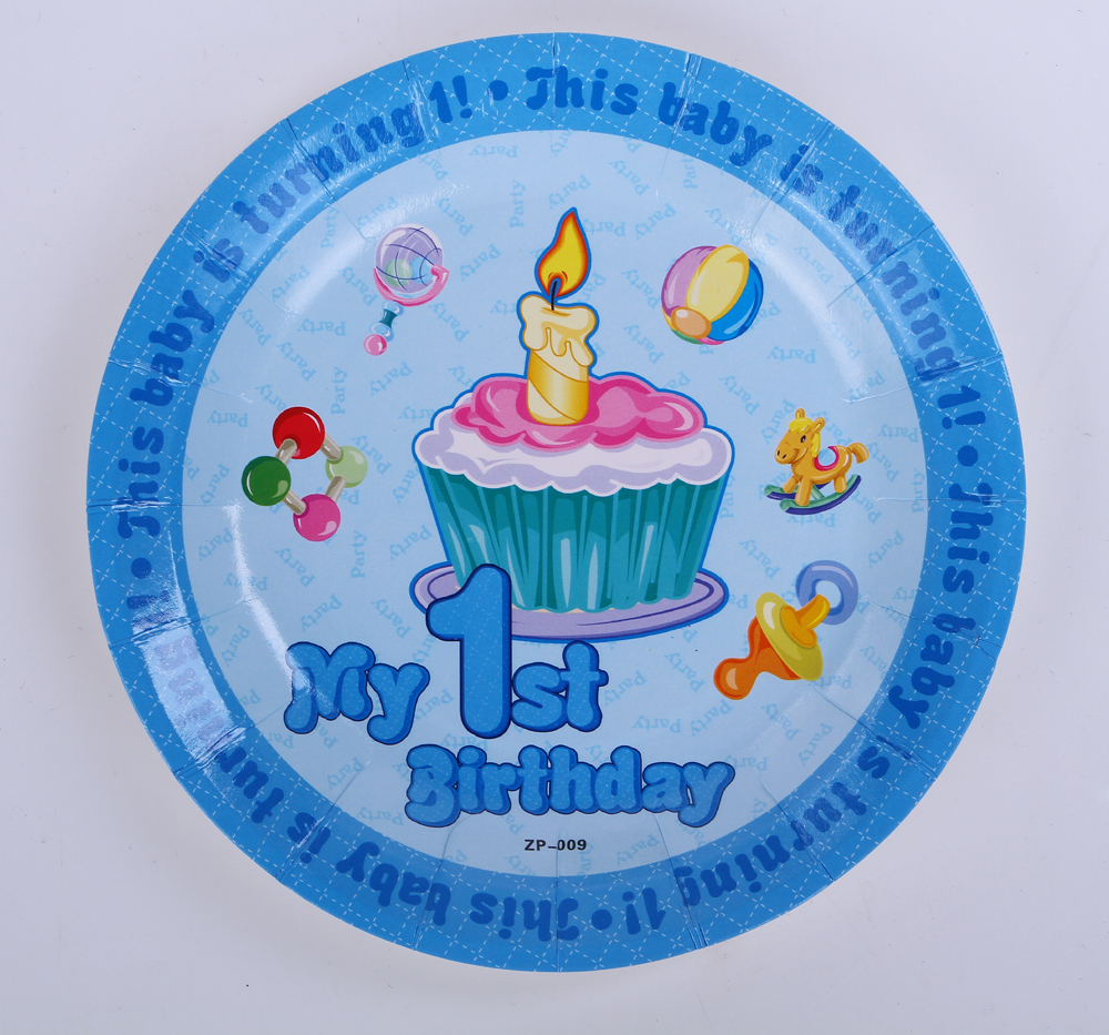 50pcs lot dessert plate birthday party table supplies for 1 year birthday decorations