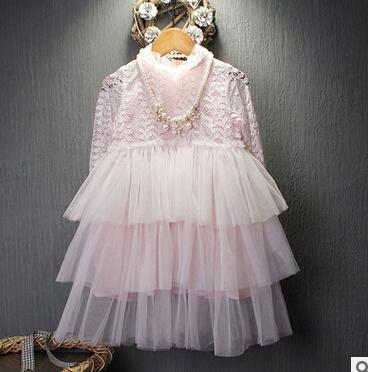 The Republic of Korea children's garment 2016 Spring clothes new product Girl temperament Lace Waist princess Dress(China (Mainland))