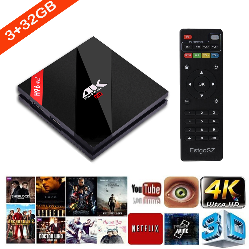 2017 Original h96 pro Google TV Box Android 6.0 Octa Core S912 BT 4.1 Dual Wifi OTT Box HD 4K stable1000M Streaming Media Player(China (Mainland))