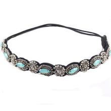 vintage bohemian ethnic turquoise metal beads flower crystal rhinestone handmade elastic headband hair band hair accessories(China (Mainland))