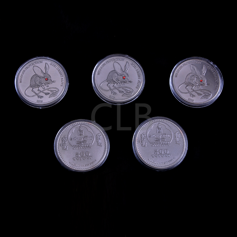 Wholesale Crystal Euchoreutes Bronze Coin 500 Torpor Mongolia 1 Oz Silver Brass Coins with Plastic Case for Home Decor(China (Mainland))