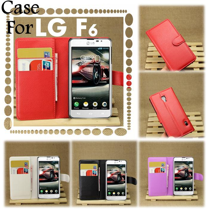 super value Original Luxury Wallet Leather Case For LG Optimus F6 D500 D505 Cover phone bags with Stand and ID Card Slots(China (Mainland))