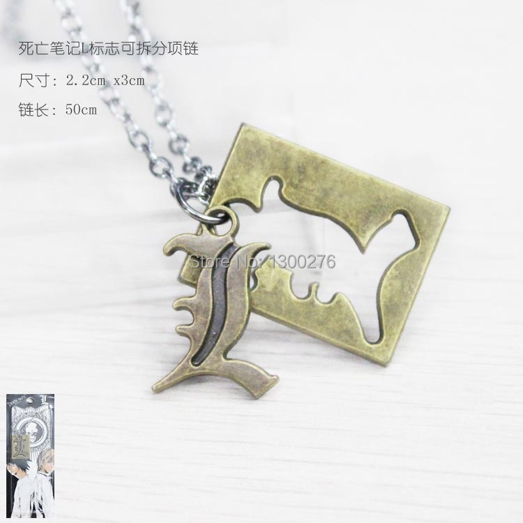 Cartoon movie&tv Death Note L L.LAWLIET metal 2toy pendants alloy necklace anime cosplay necklace 3styles(China (Mainland))