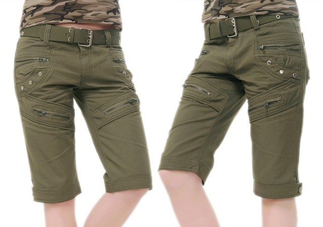 Camo Pants For Women Army Fatigue Pants Cotton Cargo Pants Knee Length Shorts Camouflage Skinny Khaki Pants Military SM L XL XXL