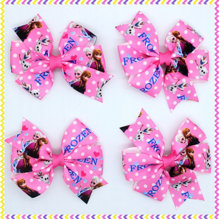 3.1'' pink anna elsa Ribbon Bows hair clip headband headwear hairbow diy decoration OEM H2640 - Global Ribbon&Accessories Studio store