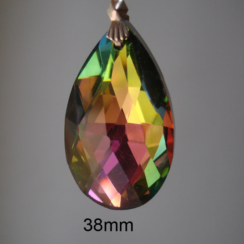 30pcs/lot MULTICOLOURED/ RAINBOW COLOR 38mmx 22mm of crystal chandelier pendants,crystal curtain pendants<br><br>Aliexpress