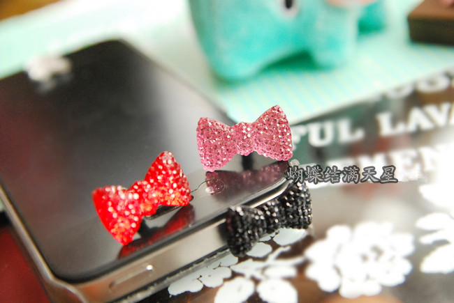 Earphone Limited Dust Plug Dachshund 2014 New Cute Bowknot Dustproof Plug Caps Cell Phone Accessories(China (Mainland))