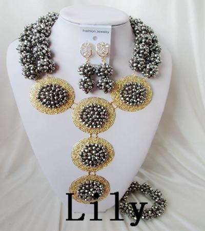 Latest Design Party / Wedding Bridal Jewelry Set 18k Wedding For Brides Nigerian Crystal Beads Set Free Shipping C-3604<br><br>Aliexpress