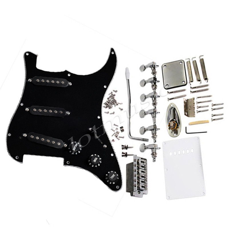 Complete Set Electric Guitar Pickguard Black Tremolo Knob Bridge Tuning Pegs For Fender Stratocaster Parts(China (Mainland))