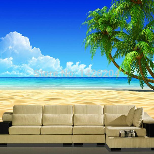 Buy great wall modern 3d palm beach for Designer wallpaper mural