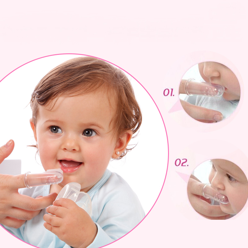 Brand Child Baby Teeth Finger Massage Tooth Brush Toothbrush Dactylotheca Type Silica Gel , 1SET=1*Toothbrush+1*Case