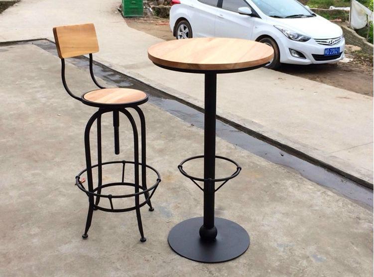 연철 나무 테이블 회전 의자 리프트 바 조립 키트 작은 라운드 ...