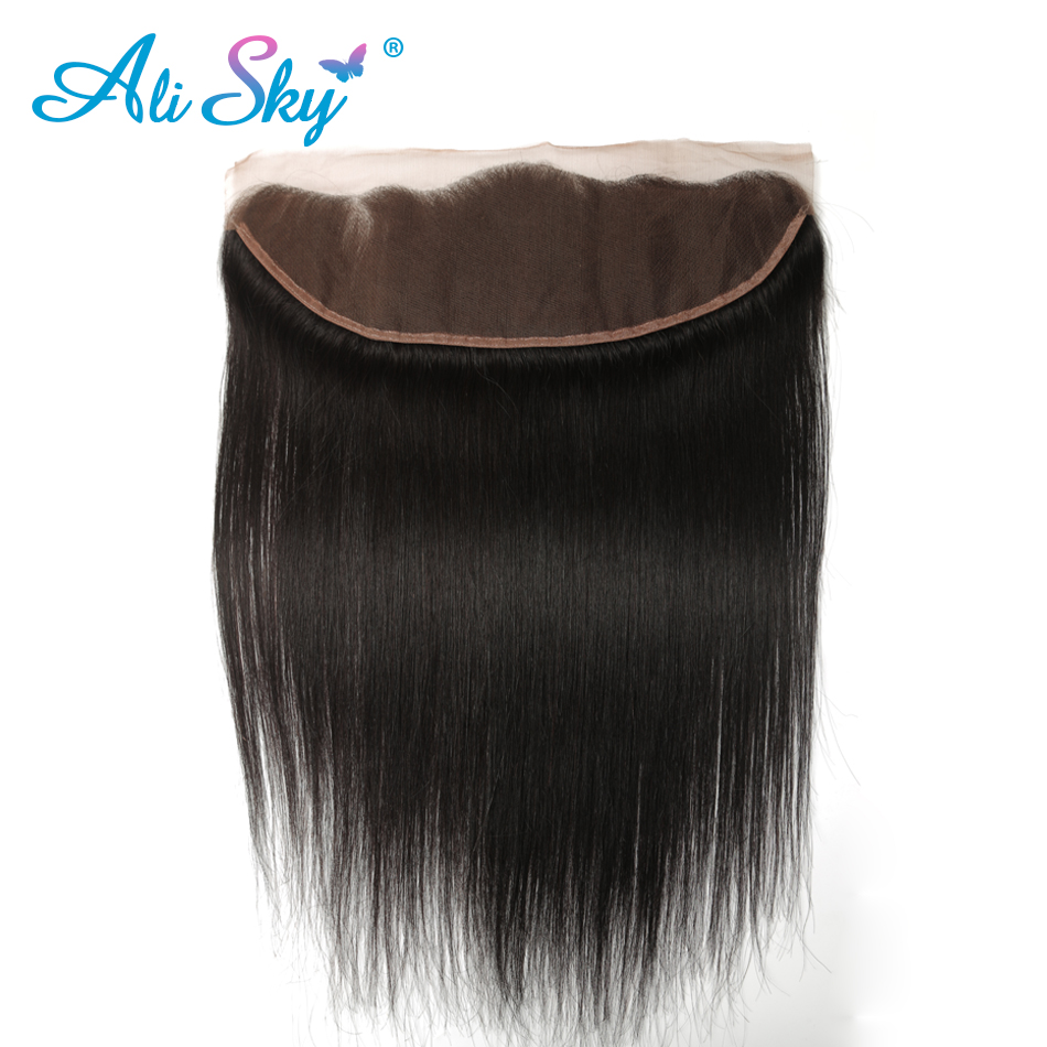 Virgin Indian Straight Ear To Ear Lace Frontal Closure 13*4 100% Human Hair 8-20 Inch Natural Color Shipping Free Ali Sky