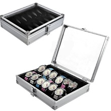 New Silver 12 Grid Jewelry Wrist Watches Display Collection Storage Box Case Aluminium