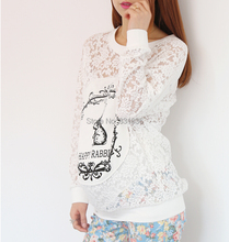Summer Autumn Pregnant Womens Plus Size Tops Maternity Lace T-shirt Loose Batwing Sleeve Cute Bunny Print Pregnancy Tees D363(China (Mainland))