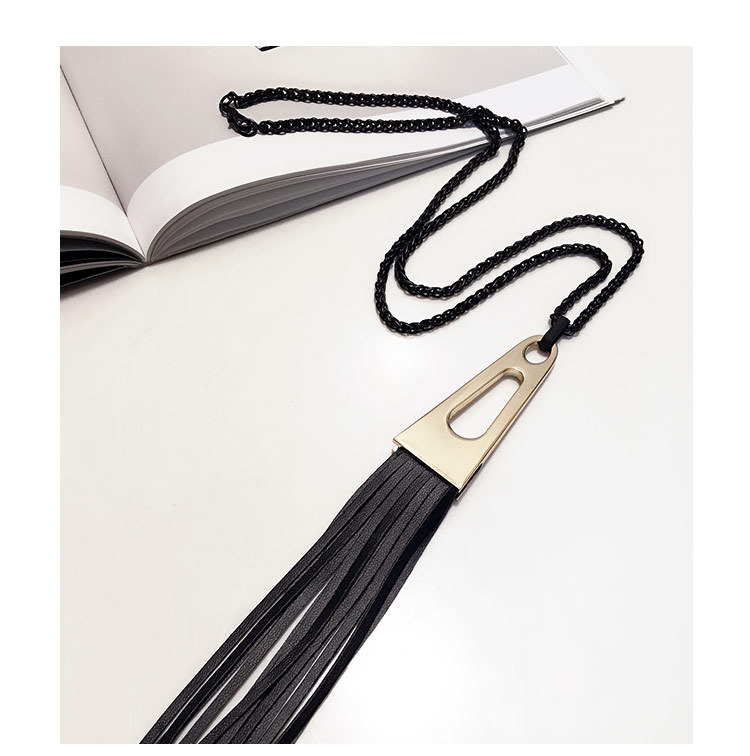 product Personality leather fringed leather rope long necklace pendant fashion sweater chain joker adorn article