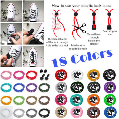 A Pair Of Locking Shoe Laces Elastic Shoelaces Shoestrings Running/Jogging/Triathlon/Sports Fitness 16 colors 1.2 M(China (Mainland))