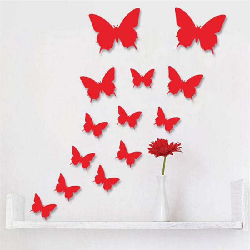 12 Pcs/Lot PVC 3D DIY Butterfly Wall Stickers Home Decor Poster for Kitchen Bathroom Adhesive to Wall Decals Decoration 1387845(China (Mainland))