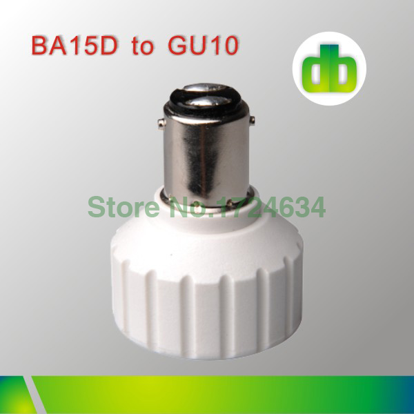 2015 hot sell 1pcs White PBT BA15D a GU10 or BA15D to GU10 lamp base adapter for led bub light/lamp made in china(China (Mainland))