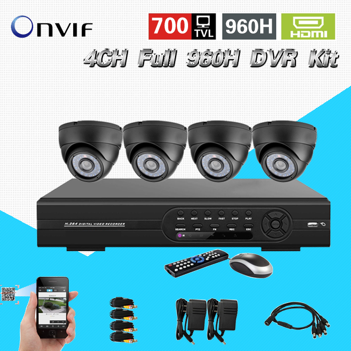 4CH full D1 / 960H real time DVR Kit  700TV-Line with IR-CUT IP66 Security Camera  H.264  High Performance Embedded