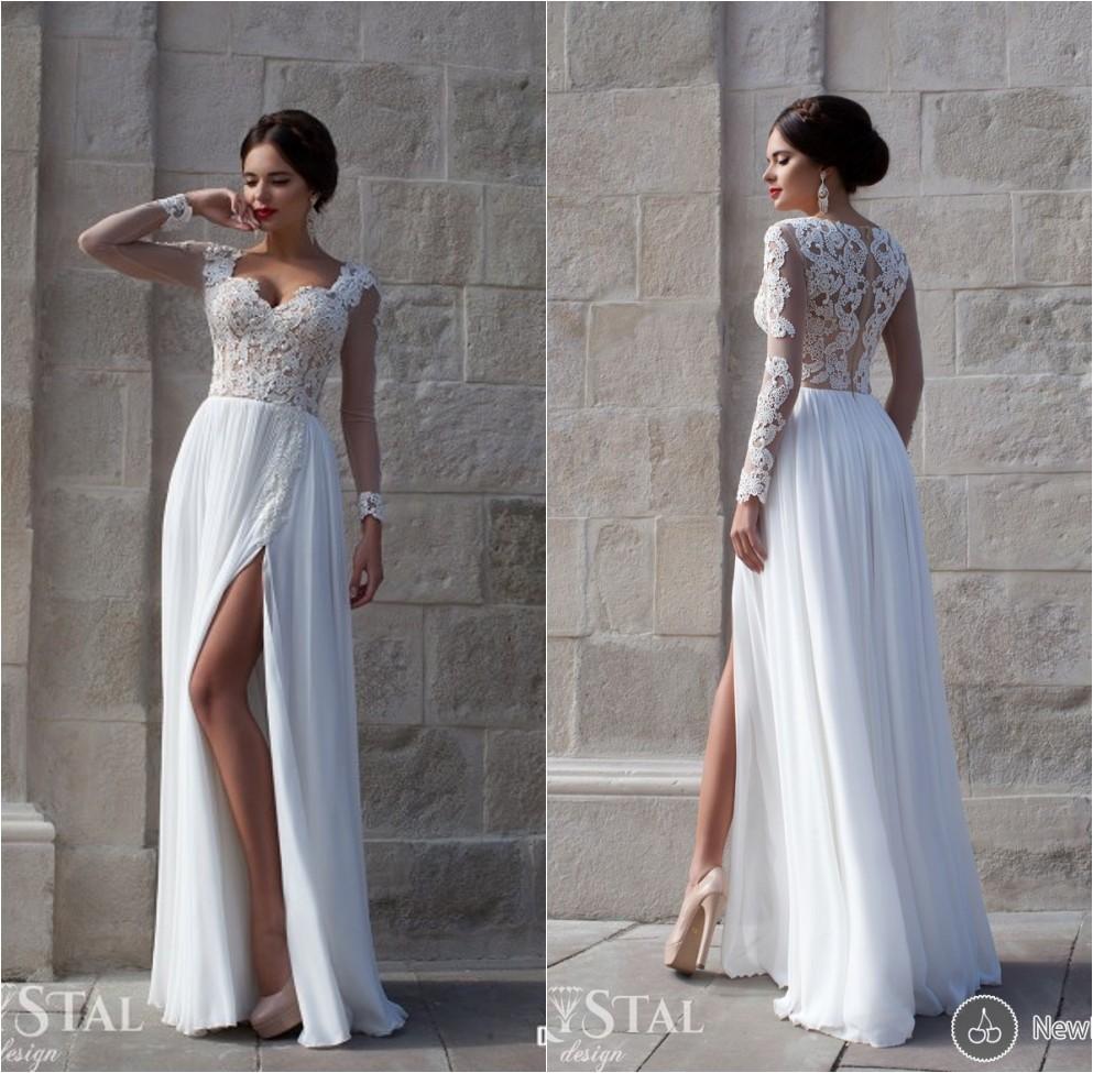 2015 Vestido De Noiva Sweetheart Long Sleeves Lace Appliques High Split Beach Wedding Dresses Brides Dress Weddings - Suzhou dreamybridal Co.,LTD store