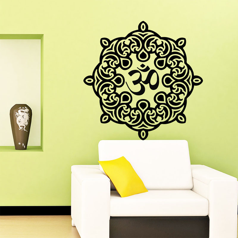 Dctop indian om symbol mandala wall sticker home decor for Adhesive decoration