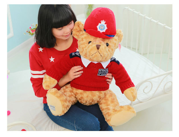 big new plush teddy bear toy red cloth and hat police teddy bear doll gift about 60cm