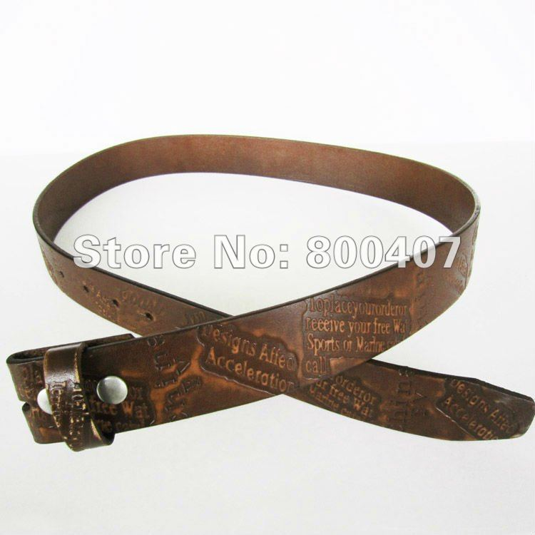 Wholesale Retail Classic Coffee Color Etched Embossed Genuine Leather Snap On Belt BELT1-007LW Brand New In Stock Free Shipping(China (Mainland))