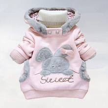New 2015 children outerwear Cartoon rabbit fleece sets girls who garment cap unlined upper garment coat