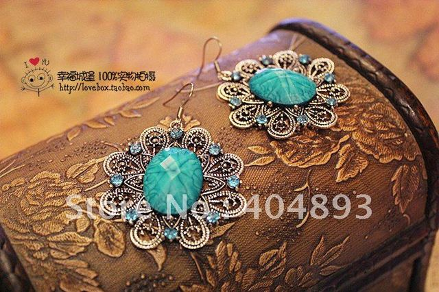 hot sale vintage filigree flower  fish hook earring