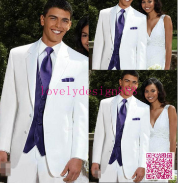Custom Made White Wedding Tuxedos For Men Bespoke White Suits With Purple Vest And TieHigh