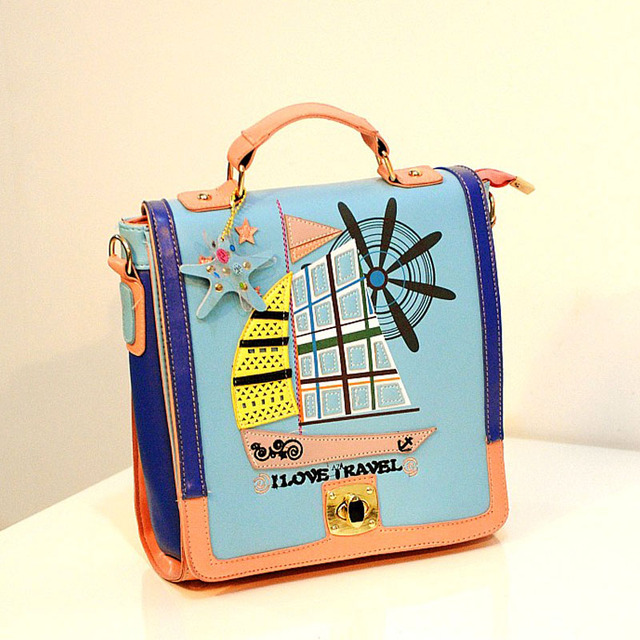 2013 women's handbag vintage preppy style backpack colorant match cutout portable backpack