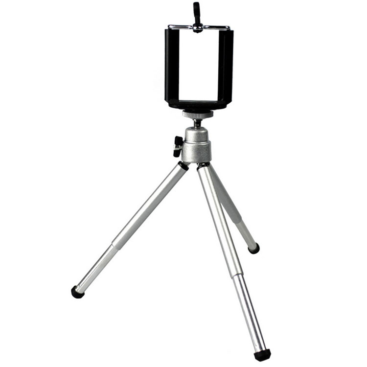 Only Tripod Mini Smart Phone Camera Tripod Stand Clip Bracket Holder Mount Adapter For Self-Timer Silver Aluminum PA-0113-SV(China (Mainland))