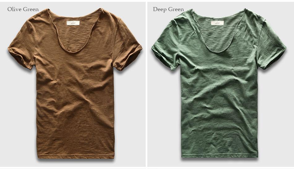 HTB1uuooPXXXXXXYaFXXq6xXFXXX6 - Men Basic T-Shirt Solid Cotton V Neck Slim Fit Male Fashion T Shirts Short Sleeve Top Tees 2017 Brand