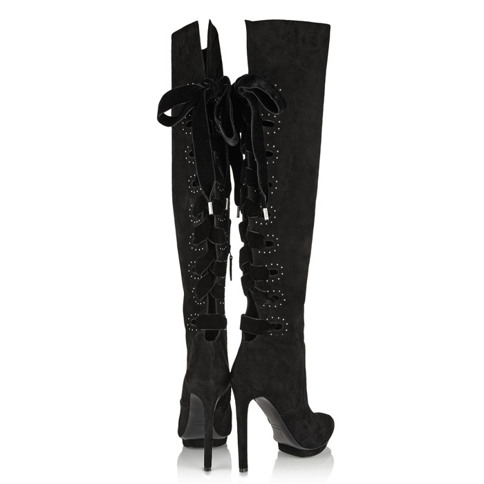 Designer Women10cm Ultra high heels knee high bootie 2015 Europe Top Fashion Black real Leather high platform boots for woman(China (Mainland))