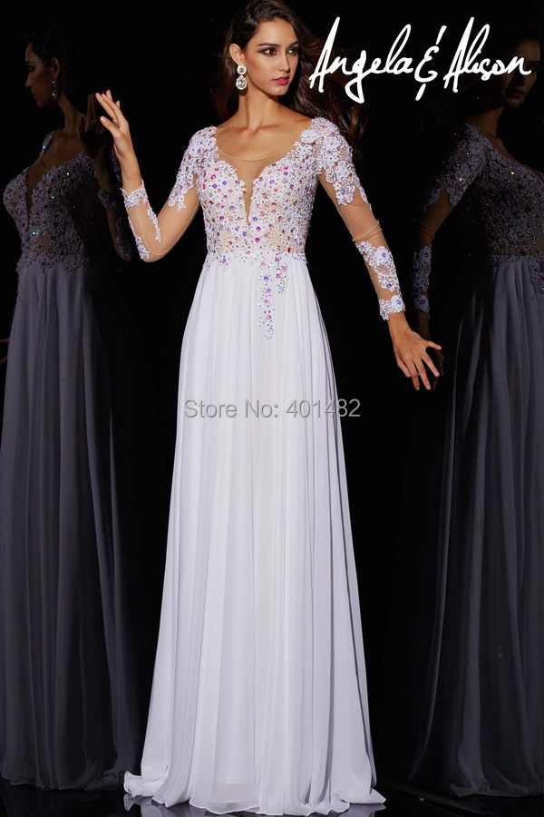 Sexy Beaded Lace Evening Dress Front Slit A-Line Long Formal Sleeve Chiffon V neck - Elaine Fashion --- 100% Satisfaction store