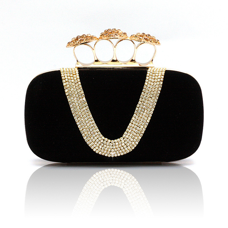 Gold Knuckle Rings Handbag Rhinestone Crystal Clutch Evening Bag Banquet Prom Party Bags Women's Luxury Mini Tote Free Shipping(China (Mainland))