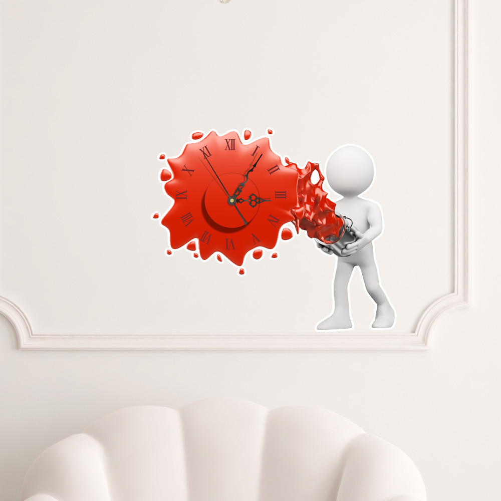 3d diy wall clock sticker modern design silent movement for Decoration murale vannerie